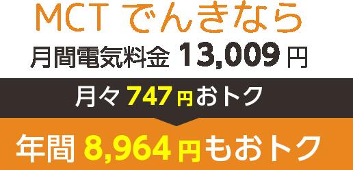MCTでんきなら 月間電気料金13,009円 月々747円おトク 年間8,964円もおトク